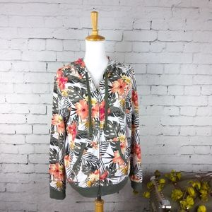NWT Others Follow floral full zip hoodie sz M